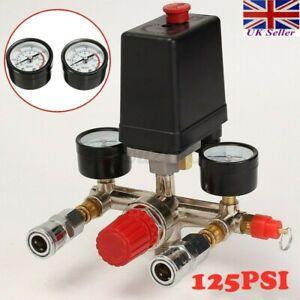 125PSI Air Compressor Pressure Switch Control Valve Manifold Regulator Gauges UK