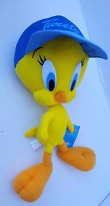 "Nanco TM Warner Brothers Tweety Looney Tunes Blue Cap Hat Plush Doll NWT 14"""