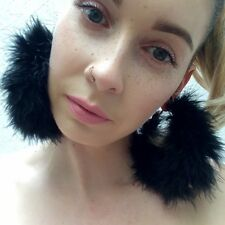 Handmade **Black Magic** Marabou Feather fluffy large gold hoop earrings