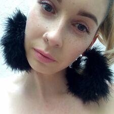Handmade **Black Magic** Marabou Feather fluffy large gold hoop earrings