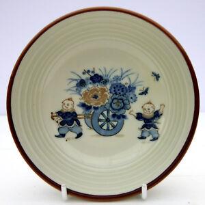 Vintage Stoneware Oriental Flower Cart Small Dish Bowl