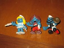Set of 3 Smurfs Figures Baseball Smurfette