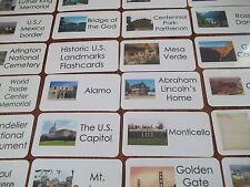 59 US Historical Landmarks Laminated Flashcards.  Geography, History, educationa