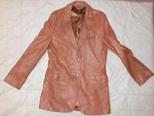 Vintage Mens Brown Classic Leather Blazer Jacket-SIze 44 Ex-Long-CLIPPER MIST