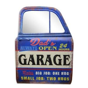 """Blechschild """"Dad's Garage"""" Reparatur Werkstatt Autotür Spiegel 81x61cm Neu"""