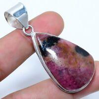 """Rhodonite Gemstone Handmade Ethnic Jewelry Pendant 2.17"""" JH"""