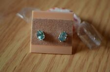 1.28ct Blue Zircon Solitaire Earrings 6 Prong Sterling Silver  VVS Clarity