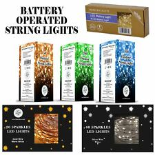 20 40 50 80 100 LED Battery Fairy Lights String Wedding Party Decorations Copper