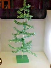 "Turquoise Christmas Tree Decor Tinsel 25"" tall 10"" Across Base is 5-1/2"" Square"