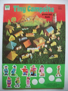 Vintage 70's Tiny Campsite press out activity book campers people cabin animals