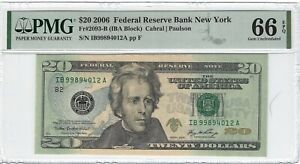 Fr.2093-B 2006 $20 FRN, Cabral / Paulson, IBA Block, New York,  PMG 66EPQ GEM +