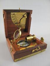 Kompass mit Holzbox Messing Nautikset + Fernrohr + Lupe + Wasserwaage 244.061M