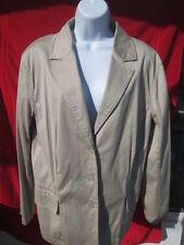 Chicos Khaki Blazer Jacket Sz 3 (sz 14) 98% Cotton 2% spandex b2