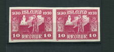 Iceland 1930 Altinget Parliament Millennary 10 kronur MNH VFXF Imperforated Pair