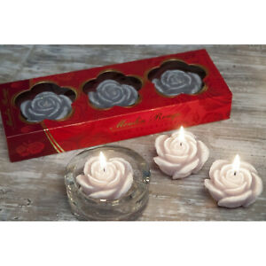 Handmade Decorative Wax Scented Candle Home Decor Small Rose Flowers 3 candles