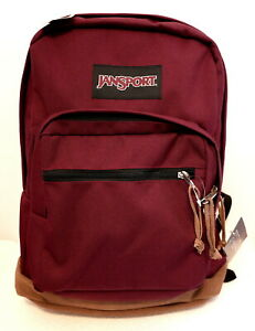 JANSPORT RIGHT PACK (RUSSET RED /LEATHER) CANVAS BACKPACK MSRP $60- NEW w/TAGS!!
