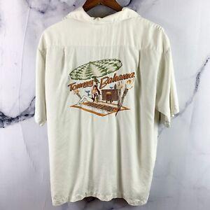 Tommy Bahama Silk Camp Shirt Large Panel Back Embroidered Patio King Tiki Hawaii