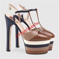 Women SHEEP LEATHER Sandal Platform T-strap High Heel Stilettos Rivets Pumps New