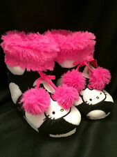 HELLO KITTY By Sanrio Pink Black White Polka Dot Bootie Slippers Girls 11-12 M