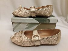 Black Gold Silver Flats Peep Toe Pumps Flat Shoes Size Ladies Womens 1 BOW Size