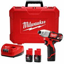 Milwaukee 2462-22 M12 12-Volt 1/4-Inch Hex Impact Driver Kit 2 Battery NIB