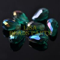 New 20pcs 16X10mm Faceted Teardrop Crystal Glass Loose Beads Peacock Green AB