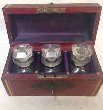 Antique Perfume Caddy 3 Glass Bottle Scent Stoppers Set Leather Case Casket Key