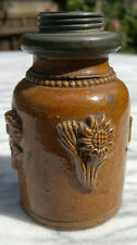 """Early 19thC Antique French Stoneware Salt Glaze Tobacco Jar Floral Relief 3.5"""""""