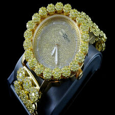 Men's Khronos Real Diamond Joe Rodeo Yellow Canary Cluster Bezel Iced Out Watch