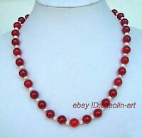 blanc Akoya perles de culture  jade rouge, collier,45cm