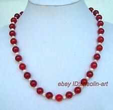 cadeau d'anniversaire , blanc Akoya perles de culture, jade rouge, collier,42cm