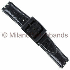 17mm Milano Black Genuine Leather Padded Stitched Fits Swatch Watch Band