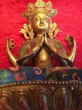 Rara blanca Tara Cloisonne Buda bronce 45 cm