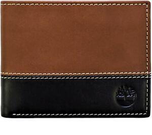 Timberland Men's Premium Genuine Leather Commuter Bifold Wallet Brown Black