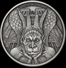 2017 1 Oz Silver SPITTER GARGOYLES & GROTESQUES Antique Finish Coin..