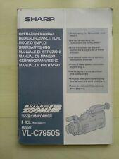 """Bedienungsanleitung Camcorder """"SHARP"""" Model VL-C7950S"""