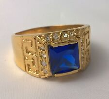 G-Filled Men's 18k yellow gold simulated diamond blue sapphire ring USA 12 AUS Y