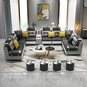 Leather Sofa Corner Sofa U Shape Modern Sofa Pads Interior Design