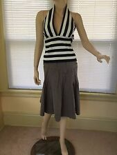 NWT Halter Top White Black Striped Nordstrom Jeffrey & Dara Evenings New Sz XL
