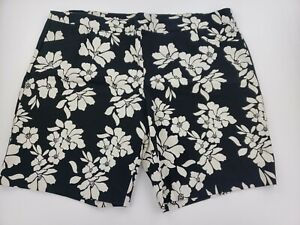 Terra & Sky Black & Cream Bermuda Stretch Shorts 3X Plus (24W-26W) Front Pockets