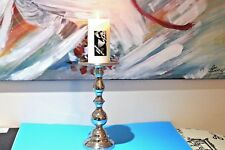 Handmade Metal Pillar Candleholder Home Decor Aluminium Nickel H:30 cm NEW