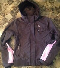 Orage Woman's Medium Brown Pink Hooded Ski Snowboard Jacket