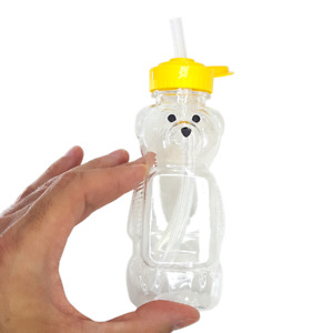 Honey Bear Sippy Cup 8oz With Straw Sealed and Cap No Spill Baby Bottle
