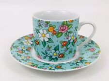 Mary Engelbreit Blue Chintz Demitasse Tea Cup & Saucer Mug Set Floral 2002