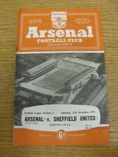 12/11/1955 Arsenal v Sheffield United  (Neat Match Notes On Cover, Neat Team Cha