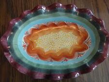 """Mackenzie Childs 10.5"""" Oval Platter Plate Server Scalloped Edge 1996 Brittany"""