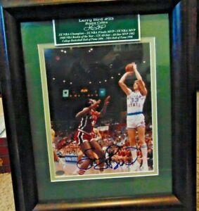 Larry Bird &W/STATS  8x10 Boston Celtics Photo Auto MOUNTED MEMORIES FRAMED