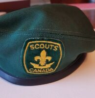Boy Scouts of Canada Official Vintage Green Beret Hat Badge Patch Black Trim