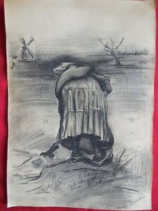 BEST, Old master,Modern,Rare drawings,Working woman,original charcoal,Home Wall