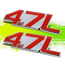 X2 Chrome Red 4.7L Metal Bumper Trunk Grill Fender Decal Emblem Sticker Badge